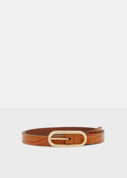 Croc-effect leather belt | VIOLETA BY MANGO