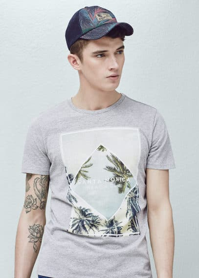 T-shirt image palmiers | MANGO MAN