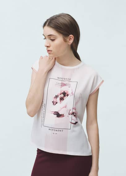 T-shirt imprimé contrastant | MANGO