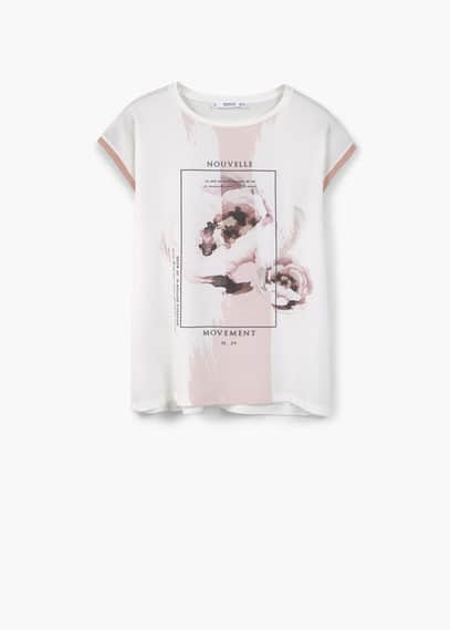 Contrast print t-shirt | MANGO