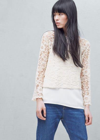 T-shirt coton dentelle | MANGO