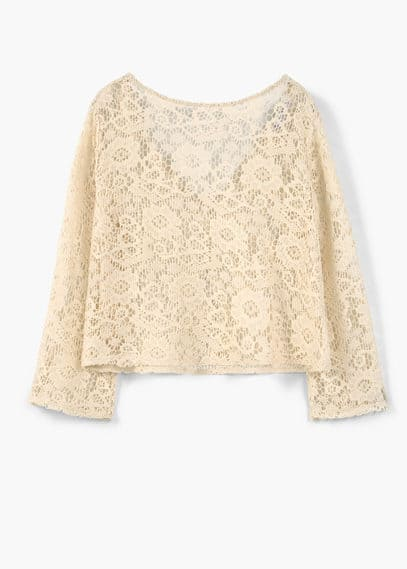 Lace cotton t-shirt | MANGO