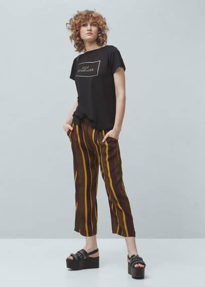Printed message t-shirt | MANGO