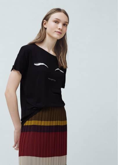 T-shirt met glitterprint | MANGO