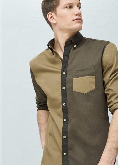 Slim-fit overhemd met contrasterende panden   MANGO MAN