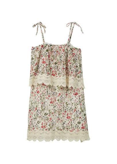 Robe Florale À Volant - Tissu dentelle, motif floral, col rond, bretelles fines ajustables, volant sur le haut, empiècement en dentelle, doublure, base contrastante.