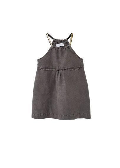 Robe Coton - Tissu de coton et lin mélangé, Emmanchures américaines, Bretelles fines, Deux poches passepoilées sur les côtés
