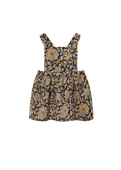 Robe Coton Imprimée - Tissu en coton, Imprimé fleurs, Bretelles larges, Taille élastique, Culotte élastiques