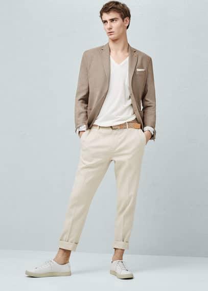 Slim fit-hemd mit mikro-hahnentritt | MANGO MAN