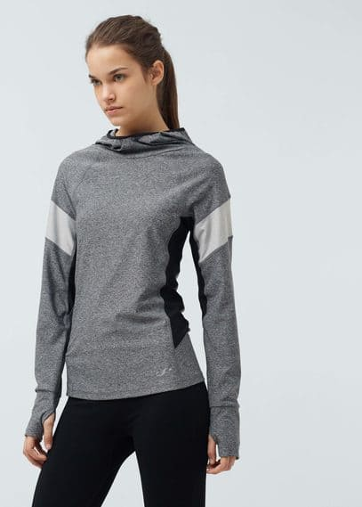 Fitness & running - hooded technical running t-shirt | MANGO