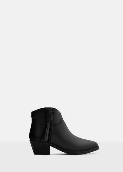 Fringed leather boots | VIOLETA BY MANGO