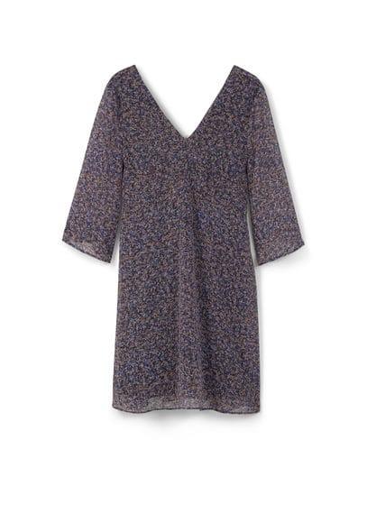 Robe Fluide Imprimée - Tissu fluide, imprimé, col en V, manches trois quarts, jupe évasée, dos en V, fermeture Éclair invisible à l'arrière, doublure.