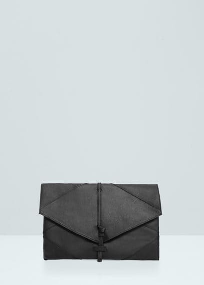 Leather lapel envelope | MANGO