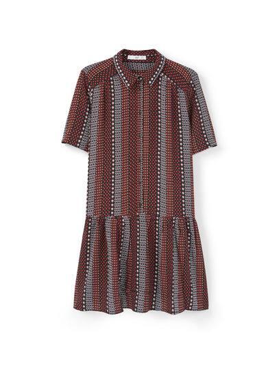 Robe Fluide Imprimée - Imprimé, manches courtes, jupe évasée, fermeture boutonnée sur le devant.