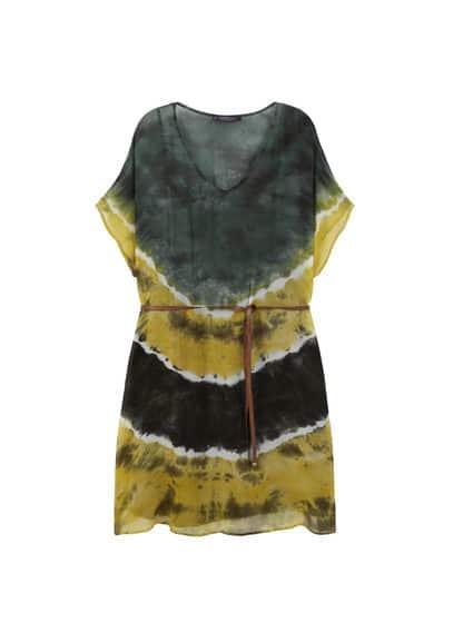 Robe En Imprimé Tie-Dye - Tissu fluide, Imprimé tie-dye, Col en V, Manches courtes, Ceinture amovible, Fentes latérales à la base, Doublure