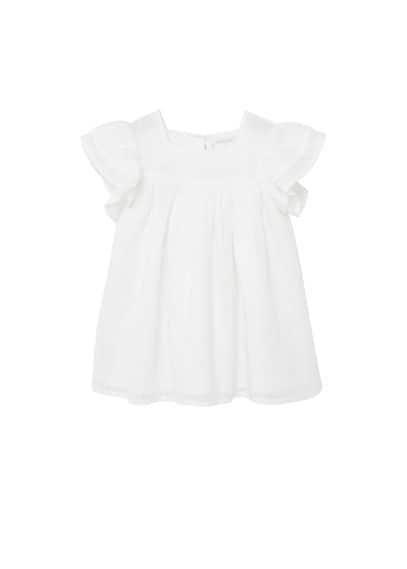 Robe Brodée Coton - Tissu en coton, Motifs brodés, Col carré, Manches avec détail volanté, Doublure