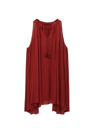 Robe Fluide - Tissu fluide, sans manches, col rond fendu, cordon tressé, ornement à pompons.