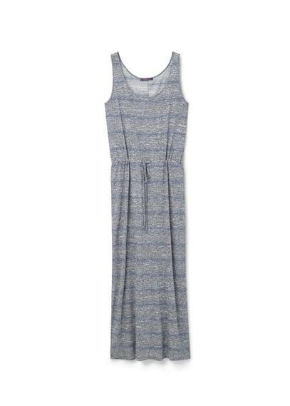 Robe Longue Jaspée - Long, tissu jaspé, col rond, sans manches, taille élastique avec cordon de serrage.