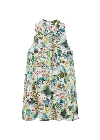 Robe Chemisier Imprimée - Imprimé floral, Col classique, Fermeture boutonnée sur le devant, Deux poches à rabat sur le devant