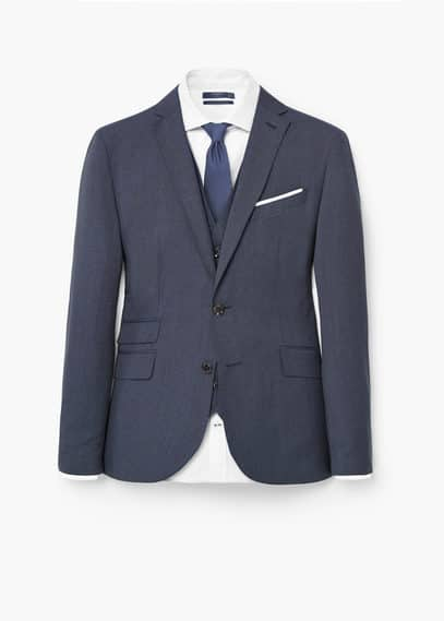 Prince of wales wool-blend suit blazer | MANGO MAN
