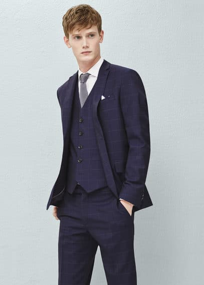 Check wool suit blazer | MANGO MAN