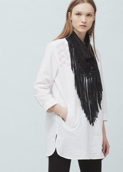 Zip embroidered shirt | MANGO