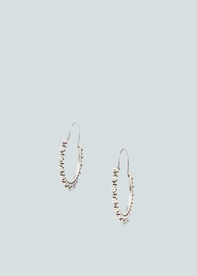 Embossed hoop earrings   MANGO
