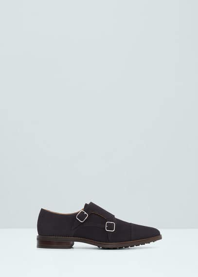 Suede monk-strap shoes | MANGO MAN