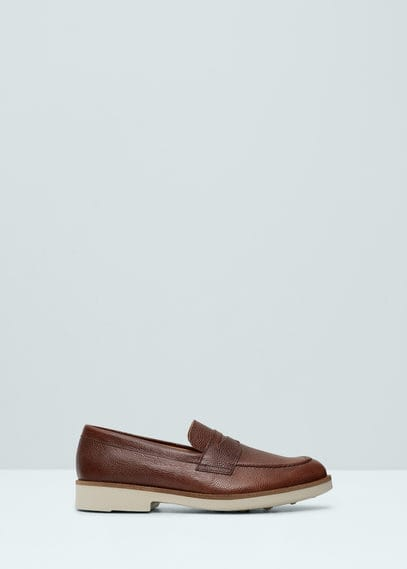 Leather moccasin | MANGO MAN