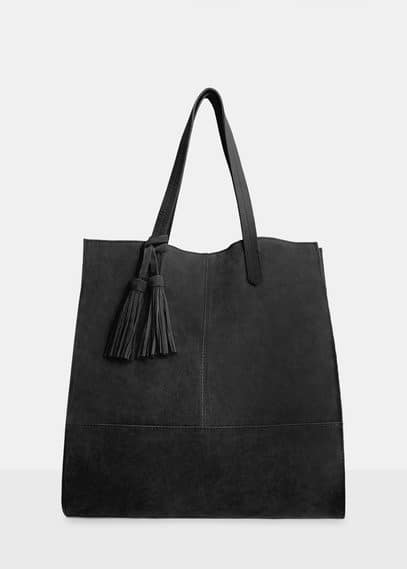 Suede shopper bag | VIOLETA BY MANGO