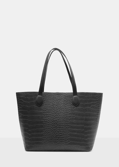 Croc-effect shopper bag | VIOLETA BY MANGO