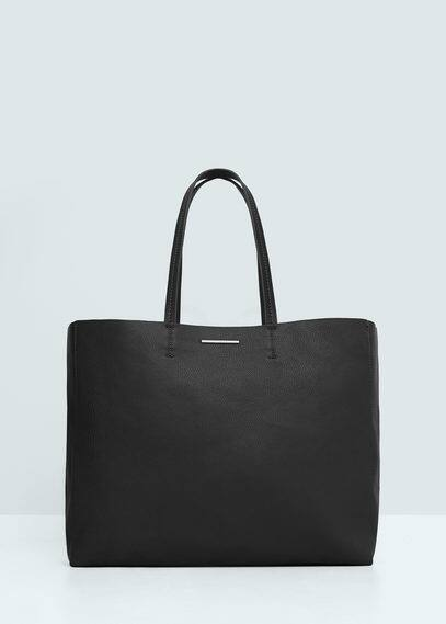 Faux-leather shopper bag | MANGO