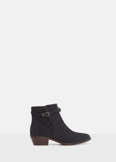 Buckle suede ankle boots | VIOLETA BY MANGO