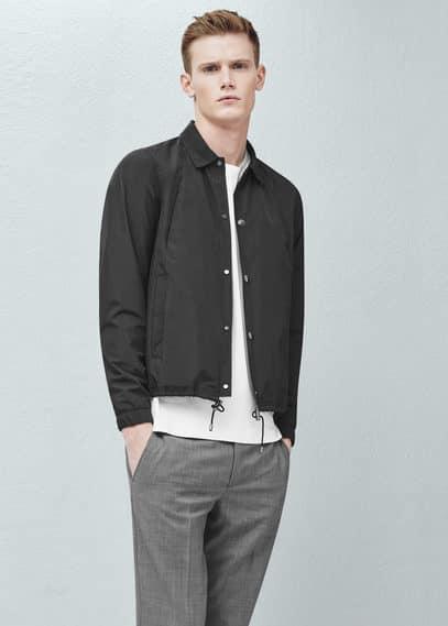 Buttoned nylon jacket | MANGO MAN