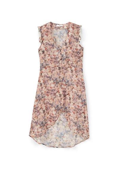 Robe Fluide Imprimé Floral - Tissu semi-transparent, imprimé floral, sans manches, volant sur le haut, col en V, fermeture boutonnée sur le devant, bas asymétrique.