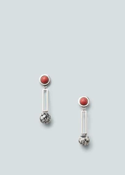 Boucles d'oreilles pierres semi-précieuses | MANGO