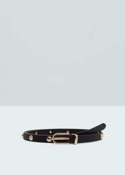 Cinturón fino tachuelas | MANGO