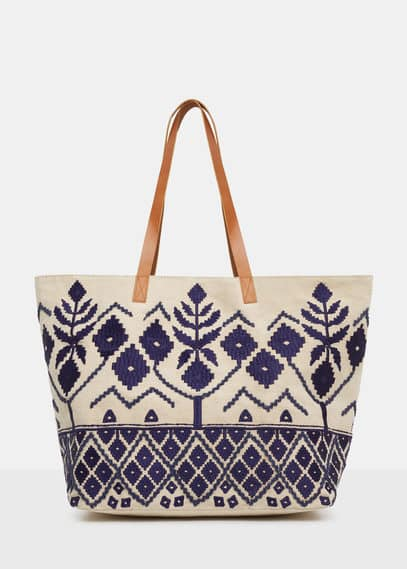 Embroidered shopper bag | VIOLETA BY MANGO