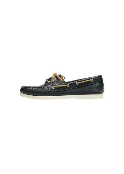 Chaussures Bateau Cuir - Cuir grainé, fermeture à nouer, semelle en caoutchouc.