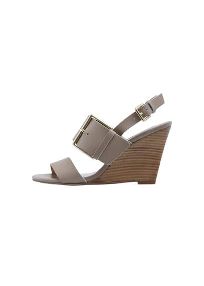 Sandales Boucles Cuir - Fermeture à boucle métallique carrée, talon compensé, talon en bois, talon de 10 cm.