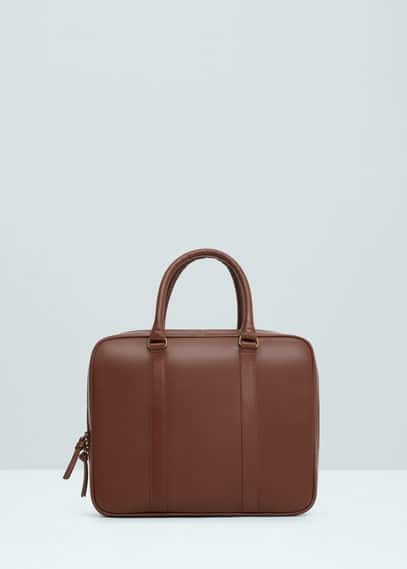 Leather briefcase | MANGO MAN