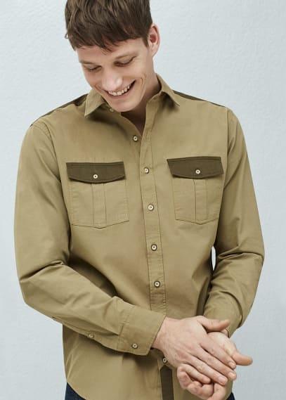 Slim-fit overhemd met contrasterende appliques   MANGO MAN
