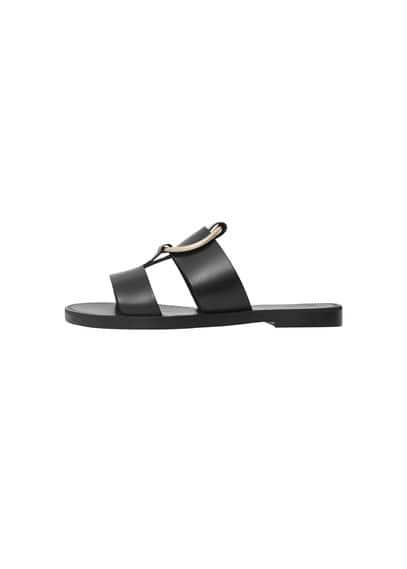 Sandales Cuir Ornement - Lanières décoratives, Empiècement métallique