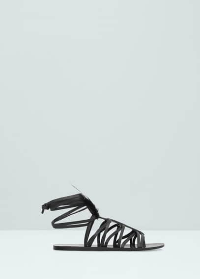 Feather leather sandals | MANGO