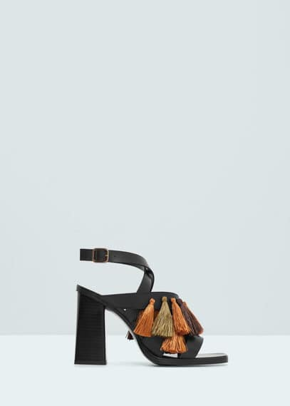 Tassel leather sandals | MANGO