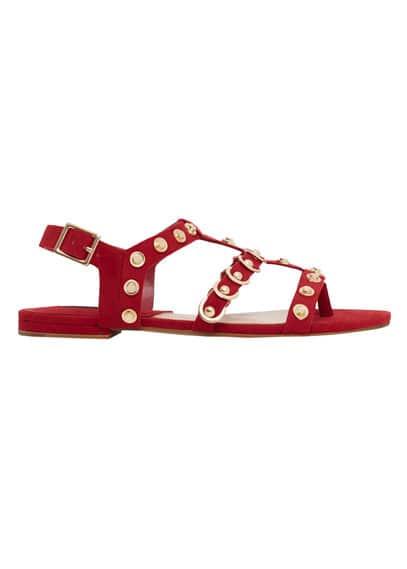 Sandales Cloutées - Clous décoratifs, Fermeture à boucle métallique carrée, Semelle contrastante