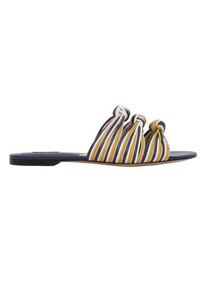 Sandales Plates N?uds - À bride arrière, n?ud décoratif, semelle contrastante.