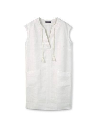 Robe En Lin - Tissu en lin, col en V, cordons à nouer, manches courtes, deux poches plaquées sur le devant, fentes latérales à la base, doublure.