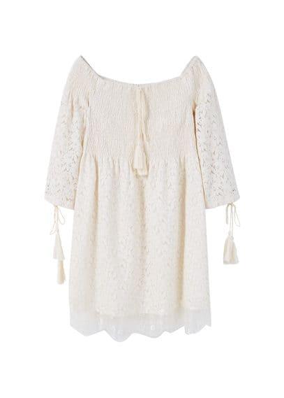 Robe Guipure Coton - Tissu en guipure, tissu en coton mélangé, col bateau, manches trois quarts, ornement à pompons, empiècement en dentelle, doublure.