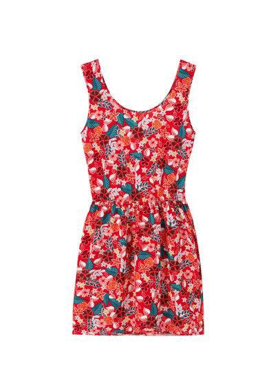 Robe À Fleurs - Imprimé floral, Col rond, Bretelles larges